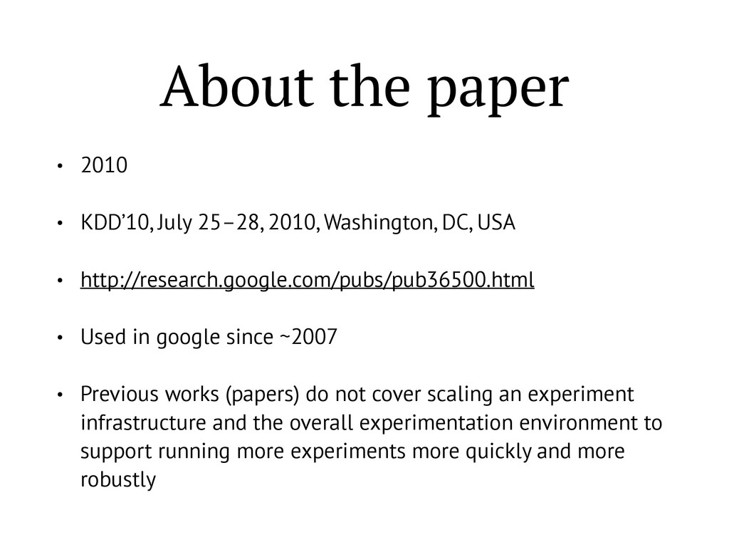 About the paper • 2010 • KDD'10, July 25–28, 20...