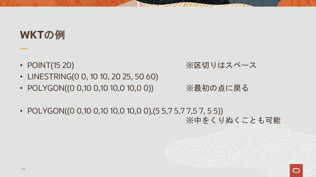 WKTの例 • POINT(15 20) ※区切りはスペース • LINESTRING(0 0...