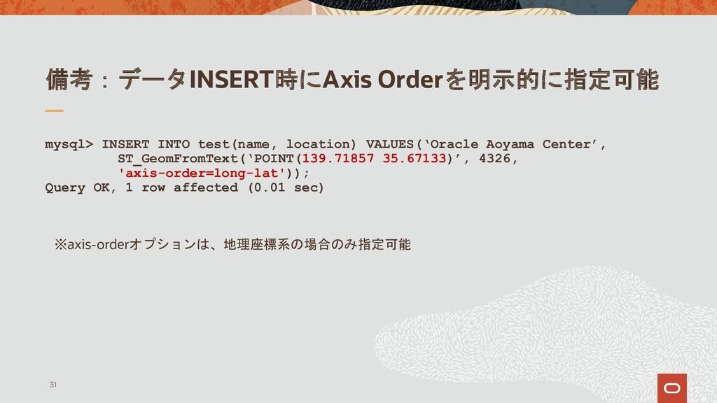 備考:データINSERT時にAxis Orderを明示的に指定可能 mysql> INSERT...