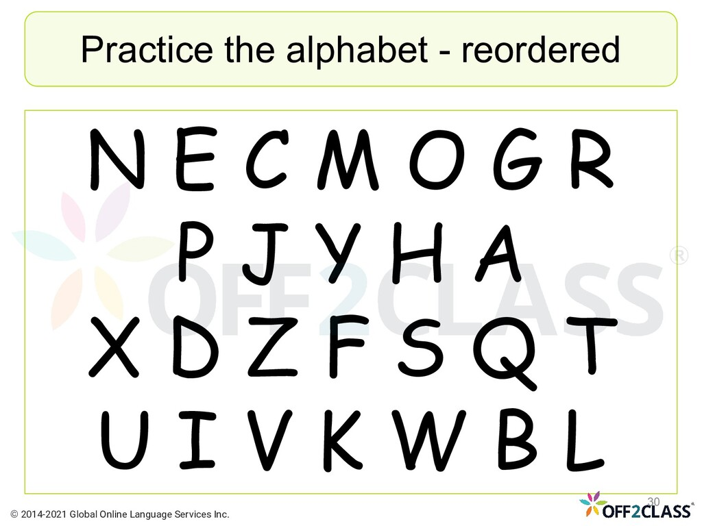 Practice the alphabet - reordered N E C M O G R...