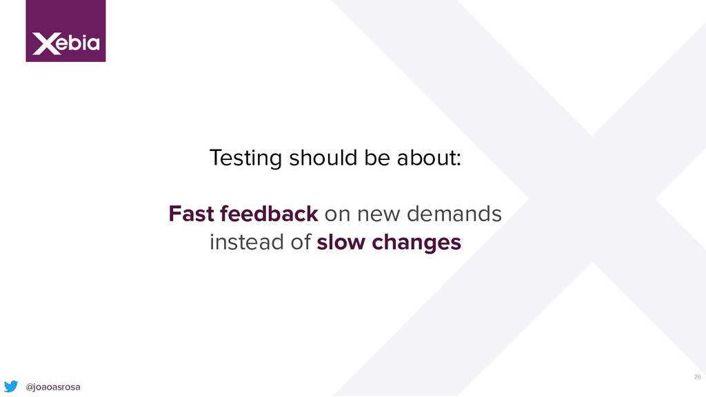 26 Testing should be about: Fast feedback on ne...