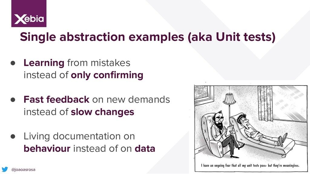 27 Single abstraction examples (aka Unit tests)...