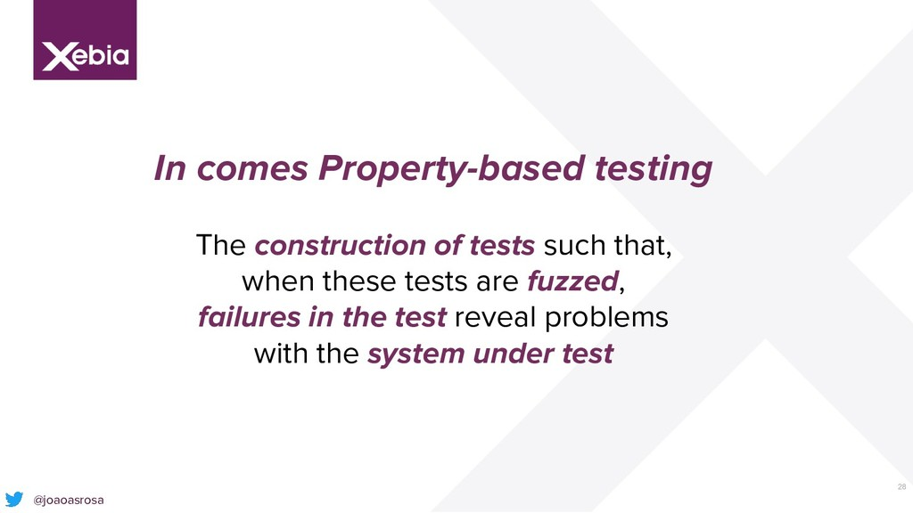 28 In comes Property-based testing The construc...
