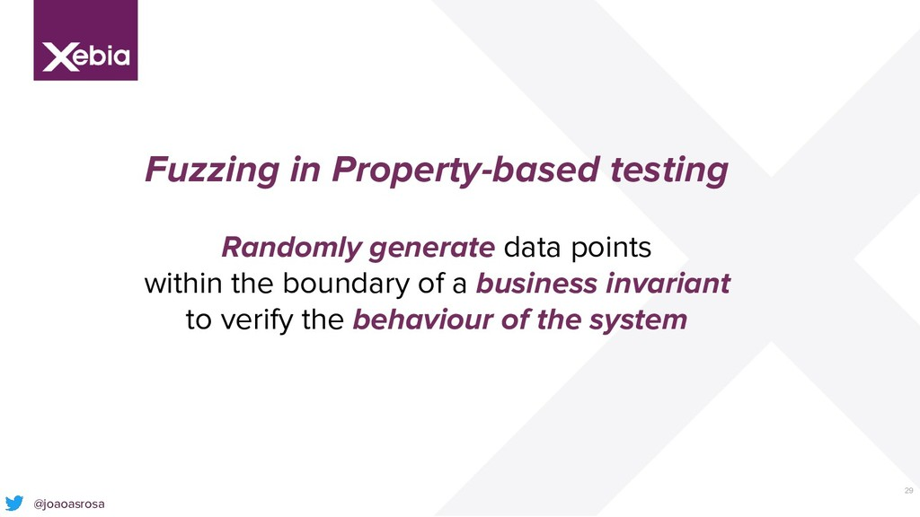 29 Fuzzing in Property-based testing Randomly g...
