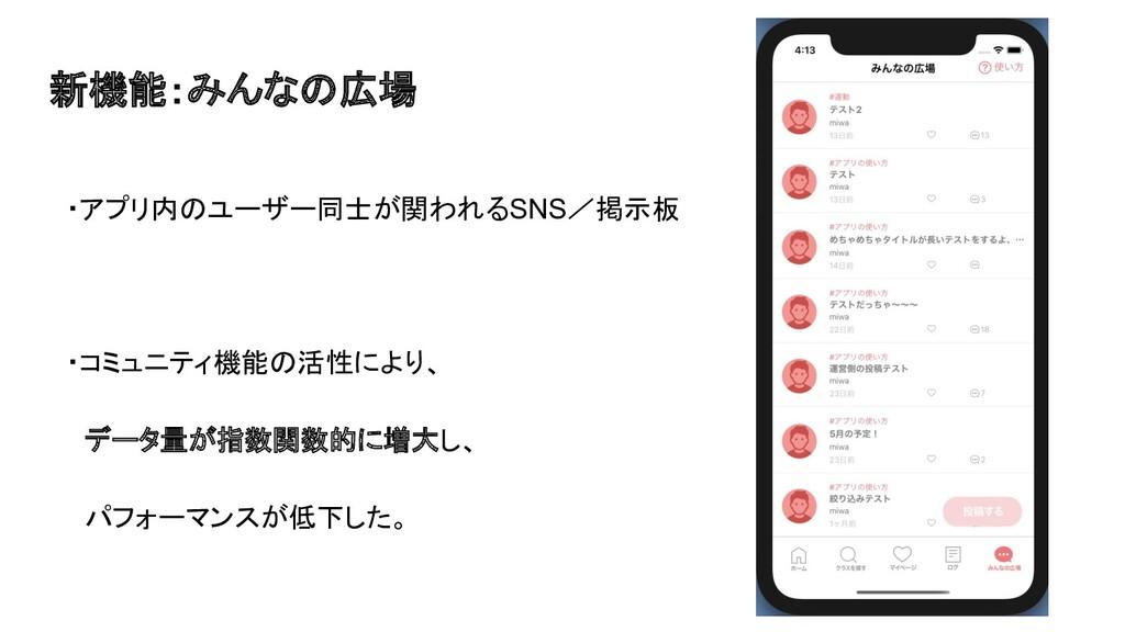 新機能:みんなの広場 ・アプリ内のユーザー同士が関われるSNS/掲示板 ・コミュニティ機能の活...