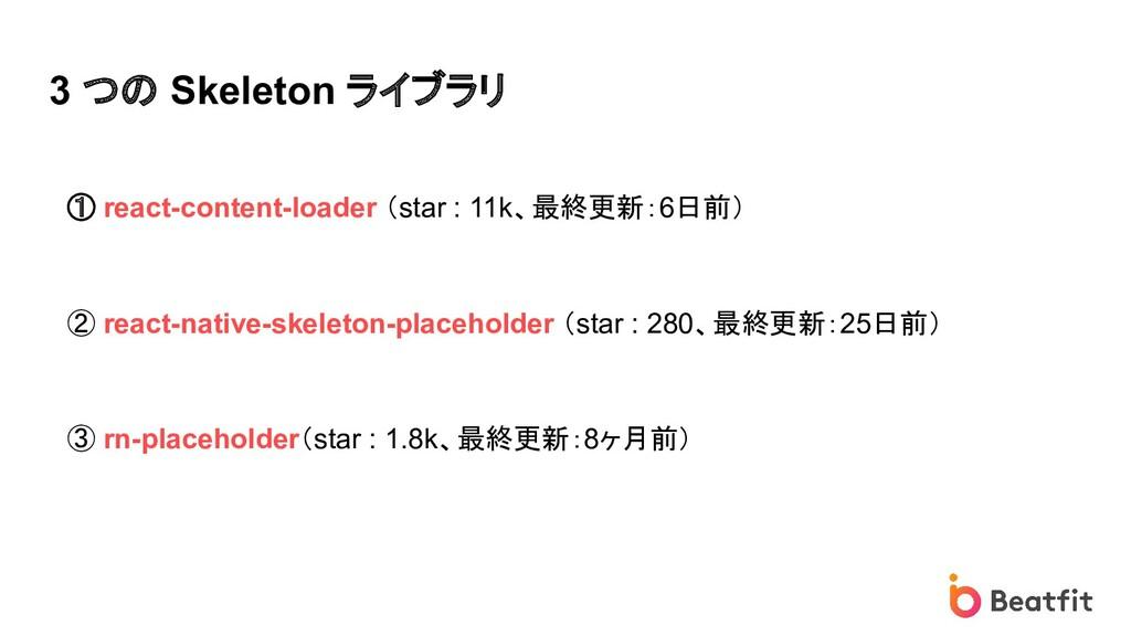 3 つの Skeleton ライブラリ ① react-content-loader (sta...