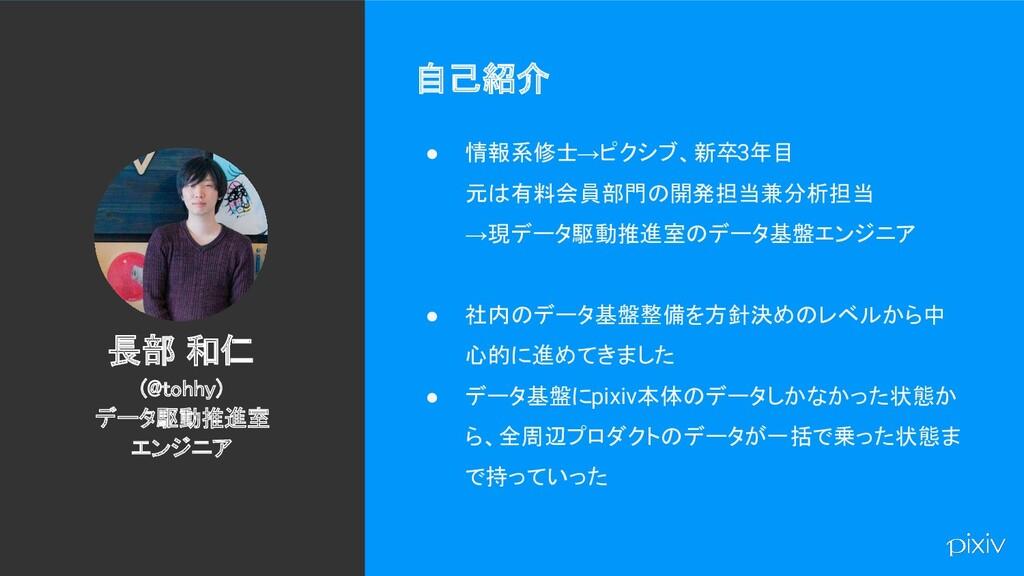 2 自己紹介 ● 情報系修士→ピクシブ、新卒3年目 元は有料会員部門の開発担当兼分析担当 →...