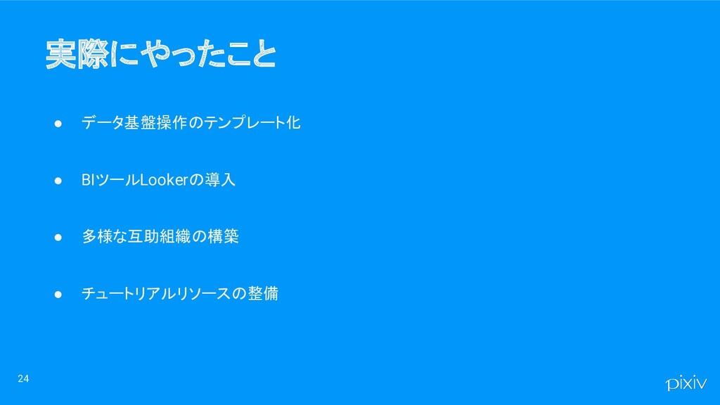 実際にやったこと ● データ基盤操作のテンプレート化 ● BIツールLookerの導入 ● ...