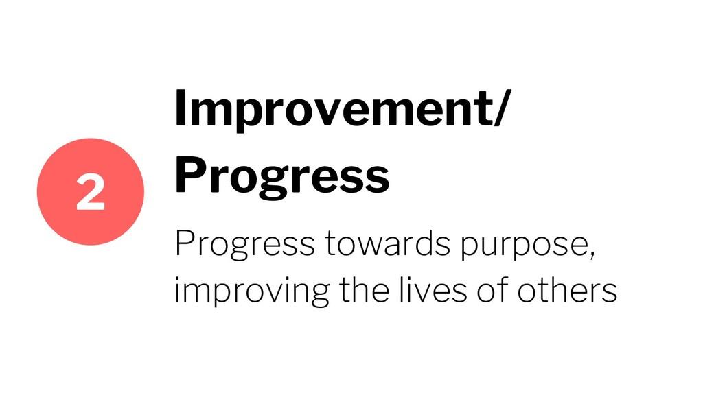 Improvement/ Progress Progress towards purpose,...