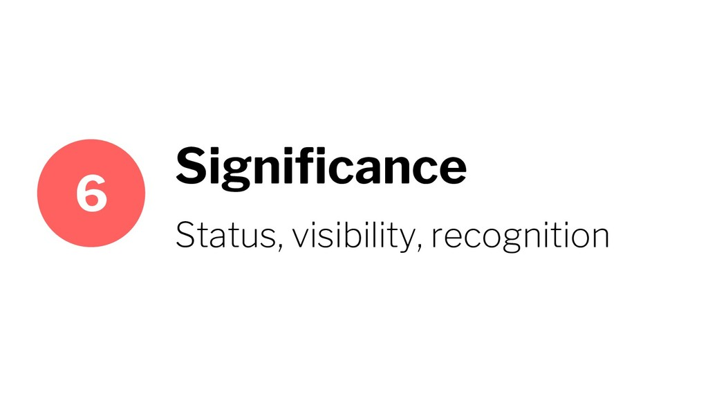 Significance Status, visibility, recognition 6
