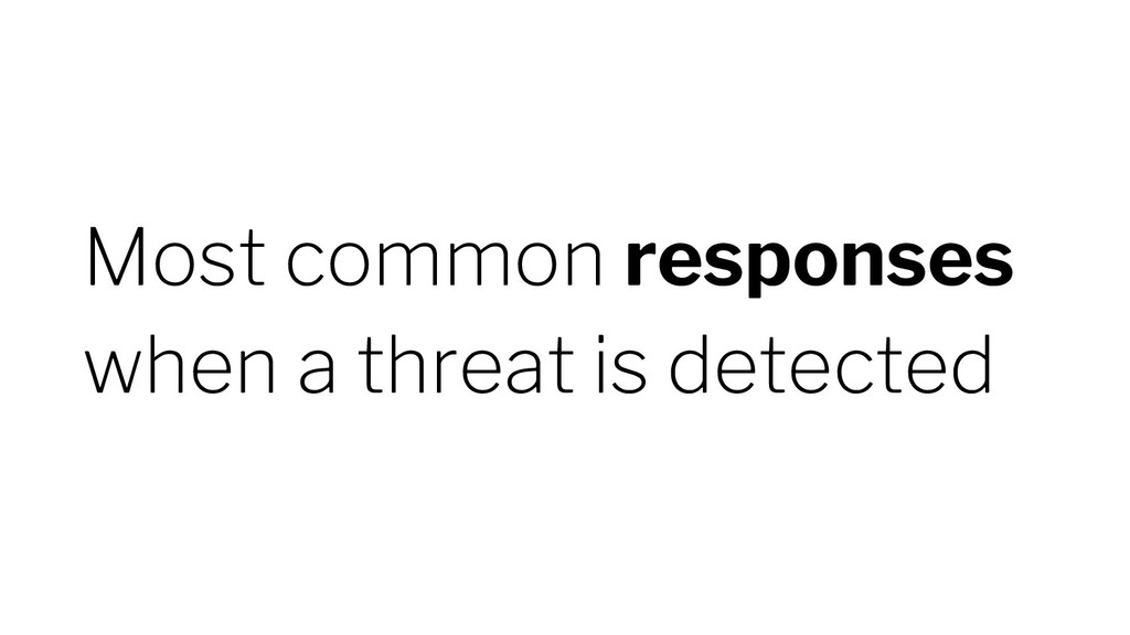 Most common responses when a threat is detected