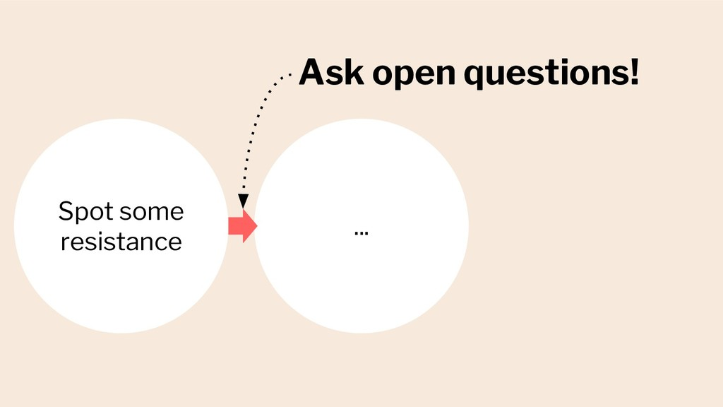 Ask open questions! Spot some resistance ...