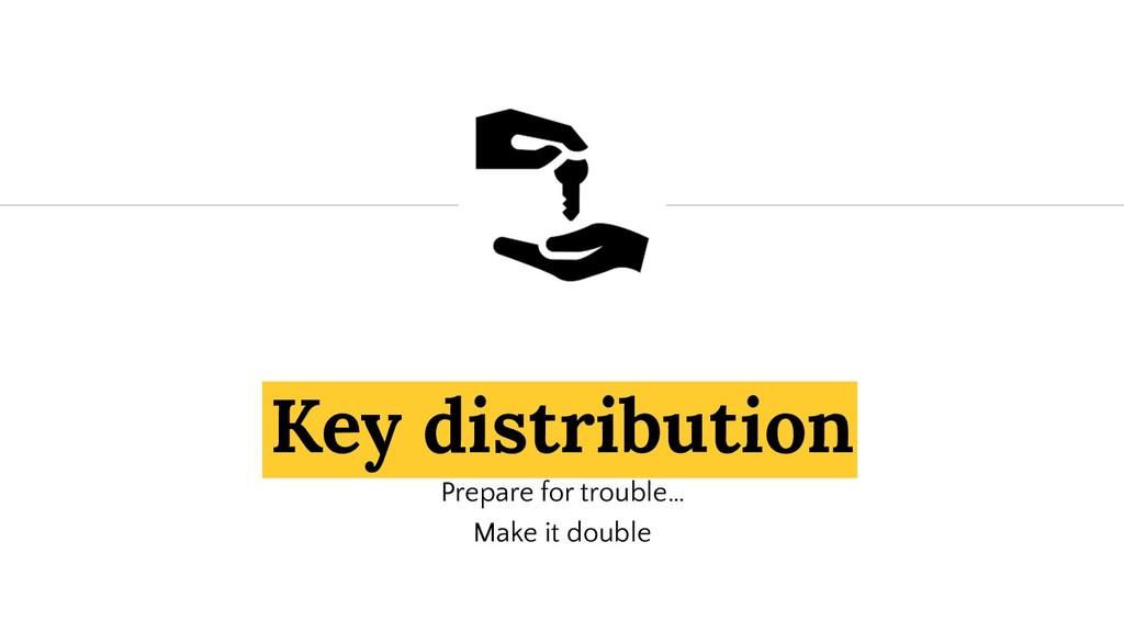 Key distribution Prepare for trouble… Make it d...