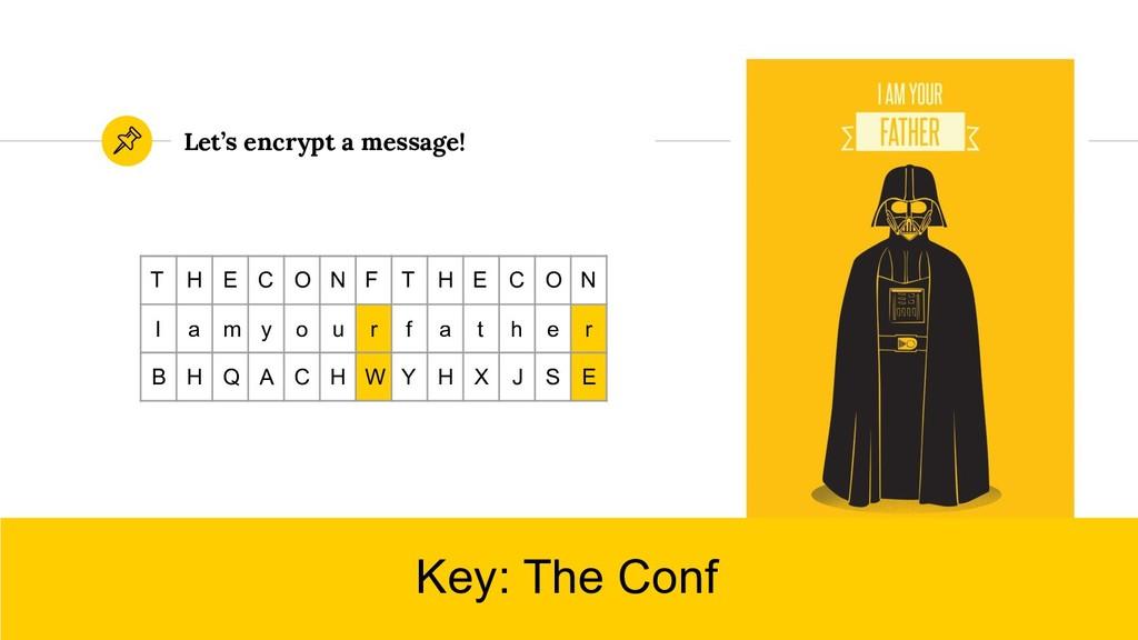 Let's encrypt a message! Key: The Conf T H E C ...