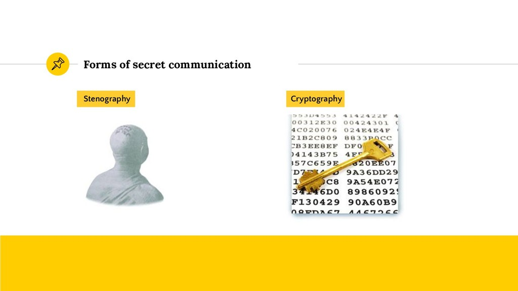 Forms of secret communication Stenography Crypt...