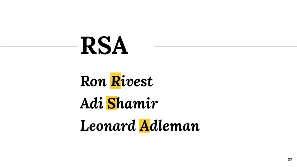 Ron Rivest RSA ! 82 Adi Shamir Leonard Adleman