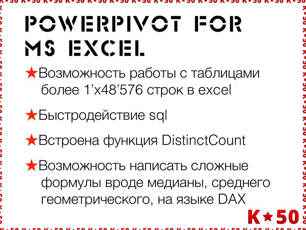 Powerpivot for ms EXCEl ★Возможность работы с т...