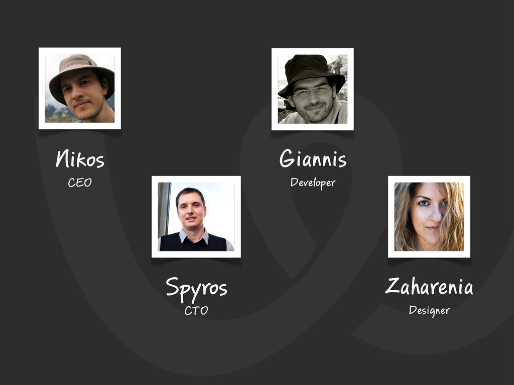 Nikos CEO Spyros CTO Giannis Developer Zahareni...
