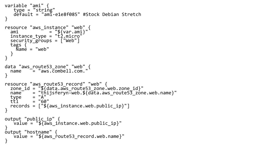 """variable """"ami"""" { type = """"string"""" default = """"ami..."""