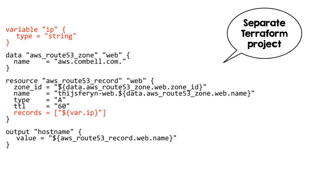 """variable """"ip"""" { type = """"string"""" } data """"aws_rou..."""