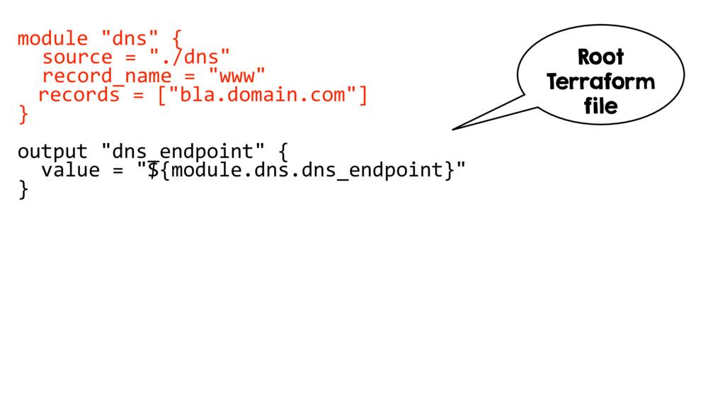 """module """"dns"""" { source = """"./dns"""" record_name = """"..."""