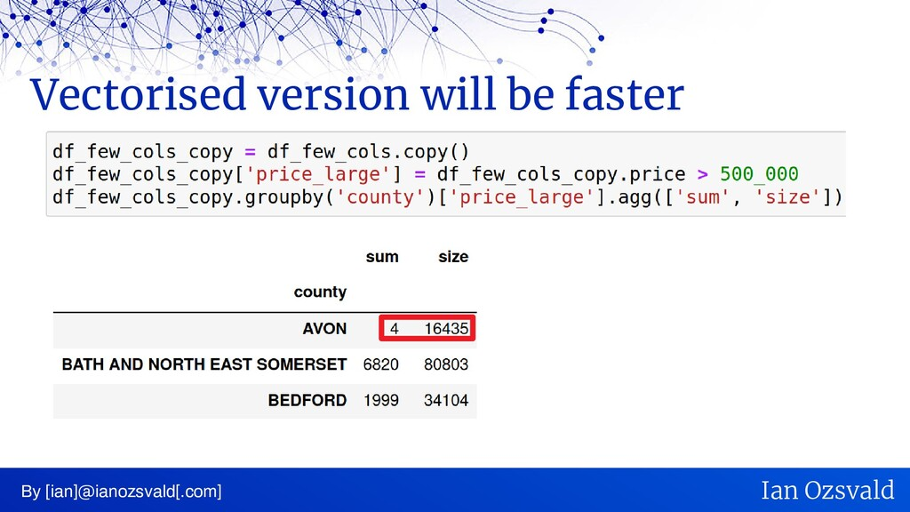 Vectorised version will be faster By [ian]@iano...