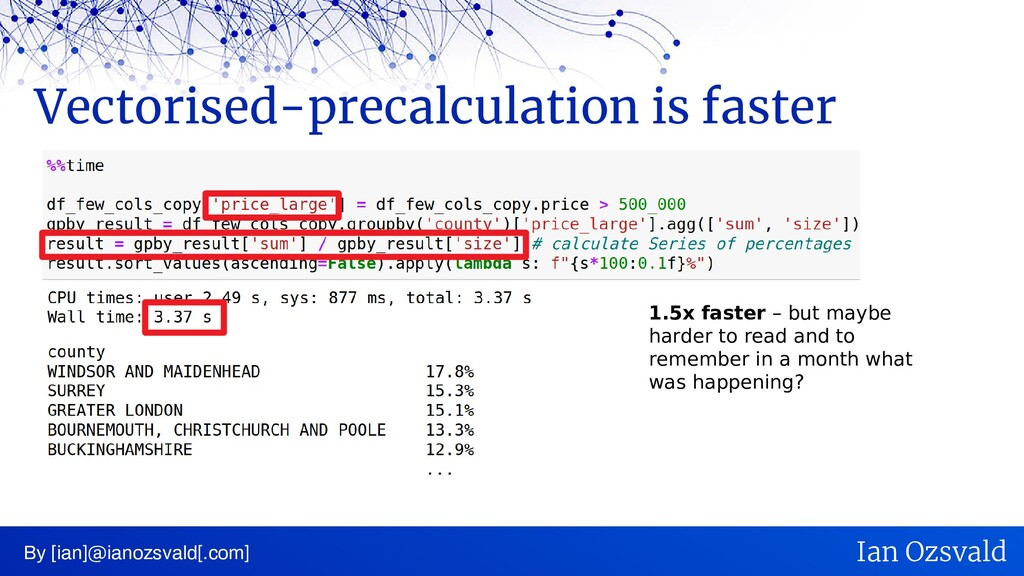 Vectorised-precalculation is faster By [ian]@ia...
