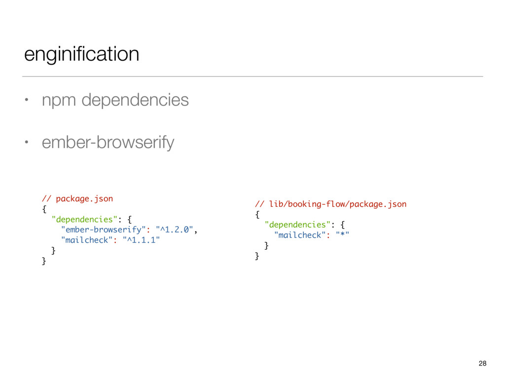 enginification • npm dependencies • ember-browse...