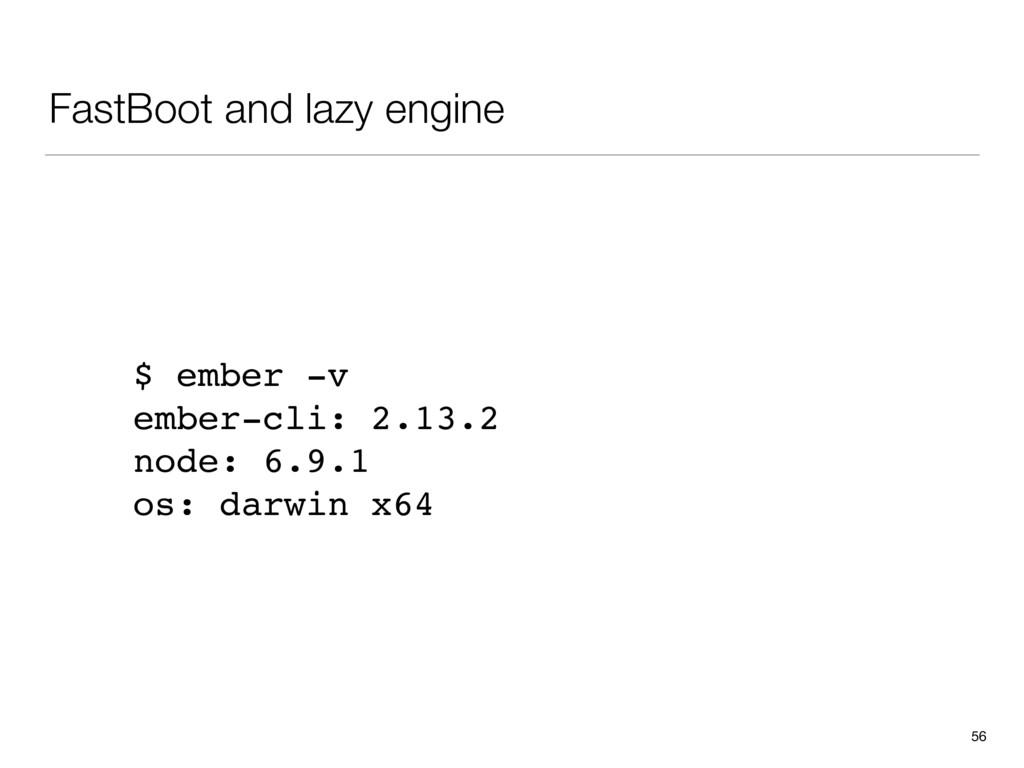 FastBoot and lazy engine 56 $ ember -v ember-cl...