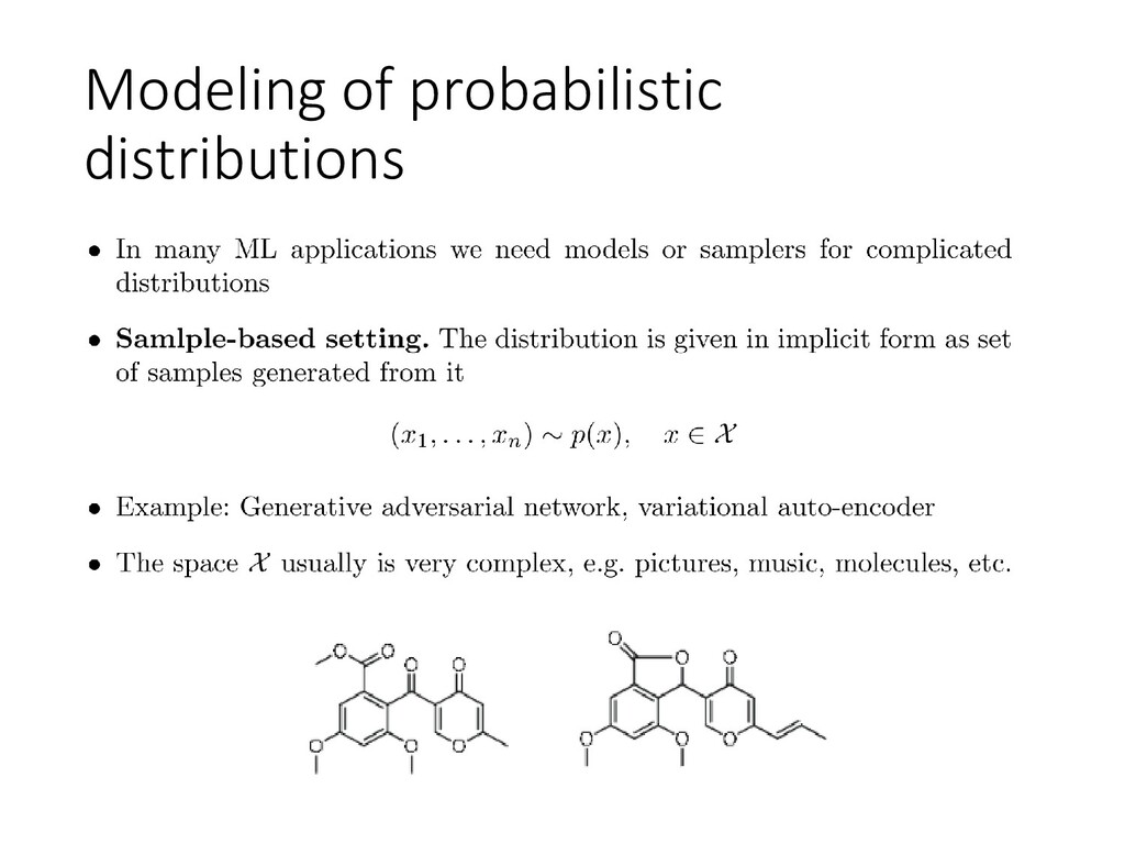 Modeling of probabilistic distributions