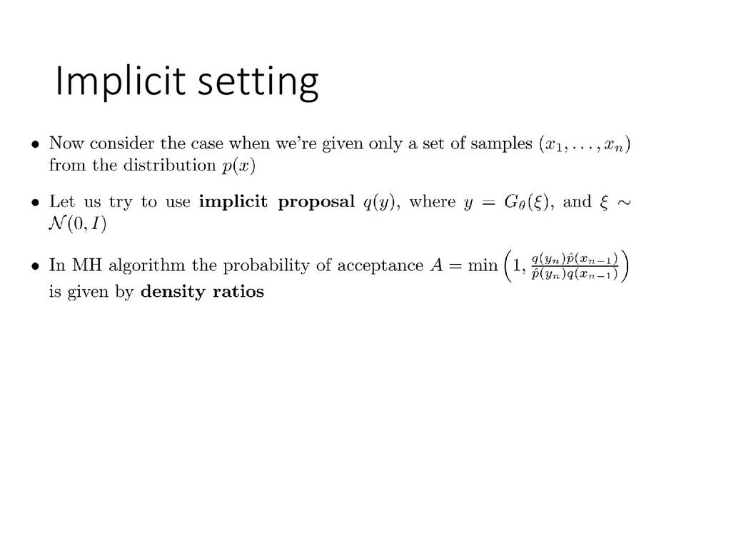 Implicit setting