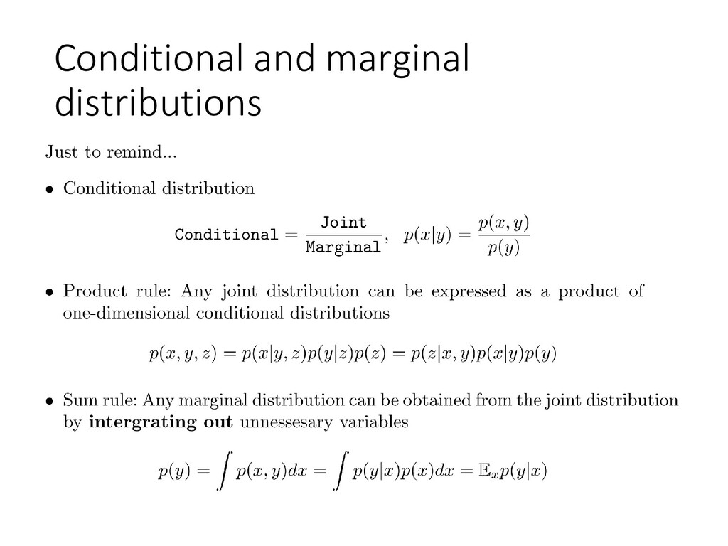 Conditional and marginal distributions