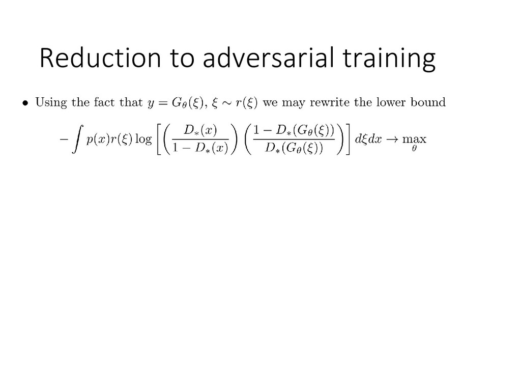 Reduction to adversarial training