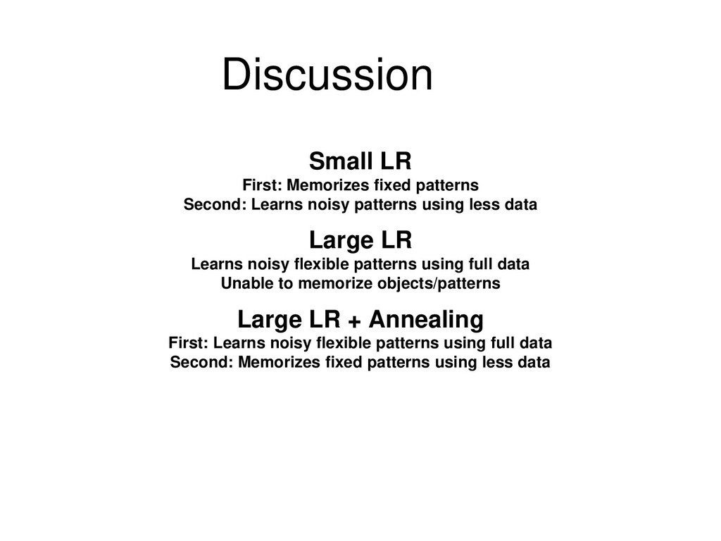 Discussion Small LR First: Memorizes fixed patt...