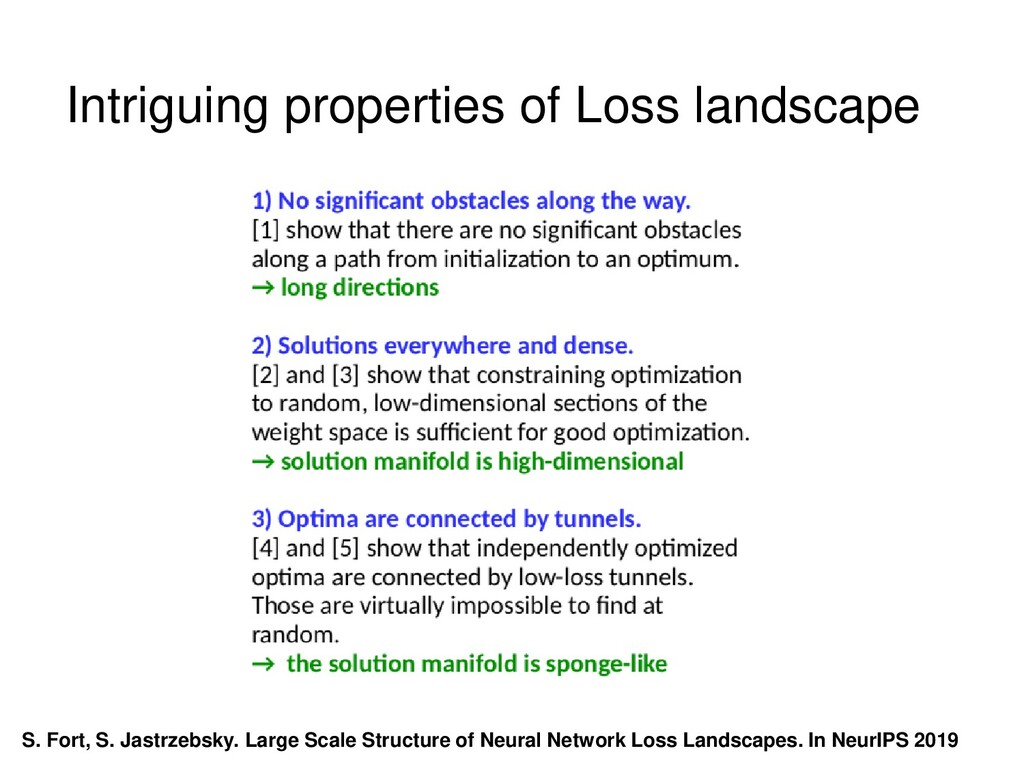Intriguing properties of Loss landscape S. Fort...