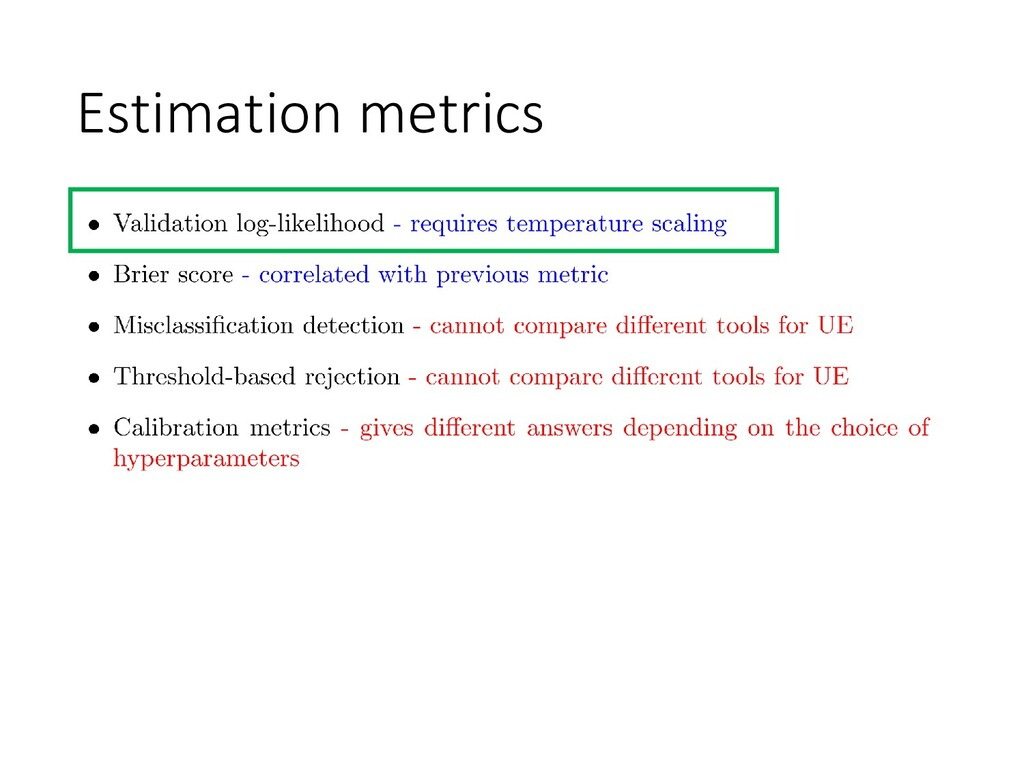 Estimation metrics