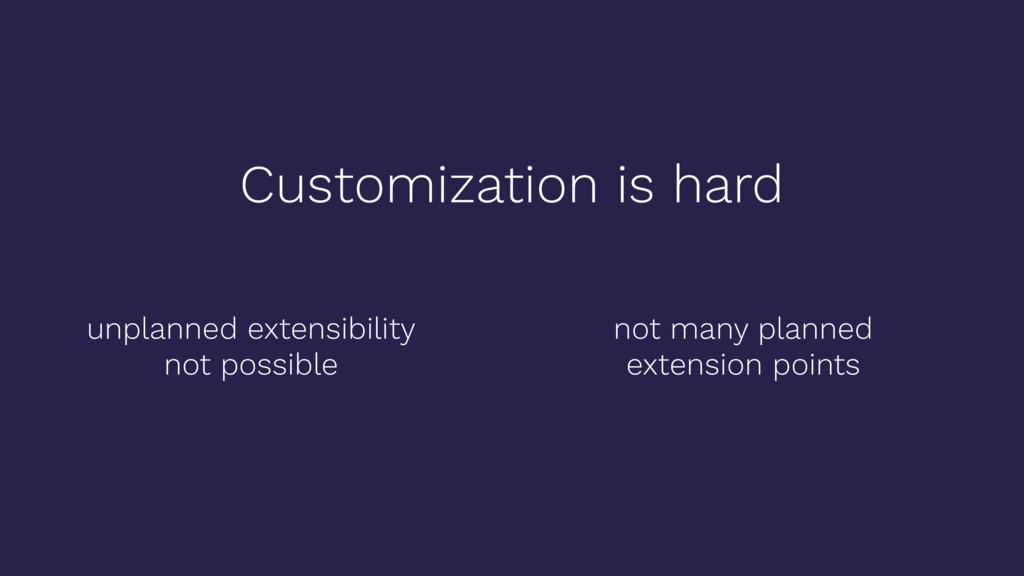 Customization is hard unplanned extensibility n...