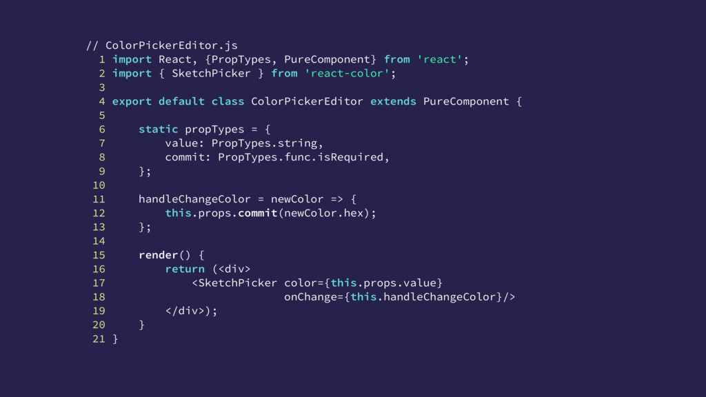 // ColorPickerEditor.js 1 import React, {PropTy...