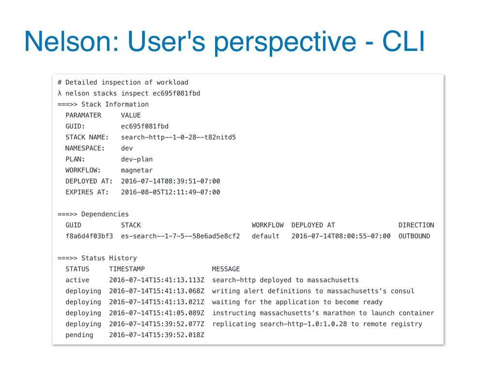 Nelson: User's perspective - CLI