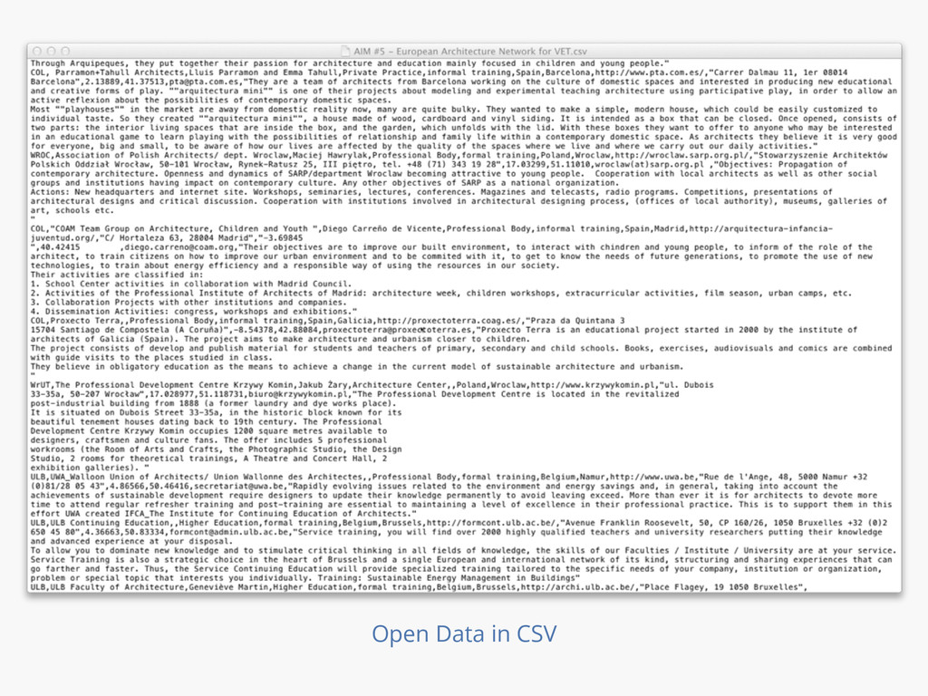 Open Data in CSV
