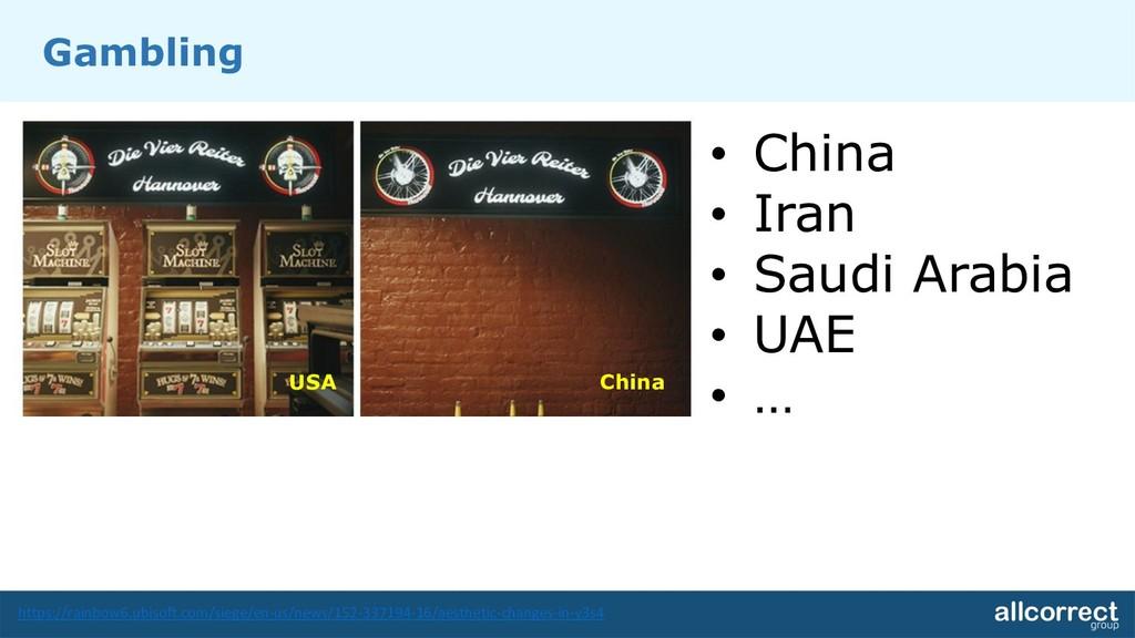 Gambling • China • Iran • Saudi Arabia • UAE • ...