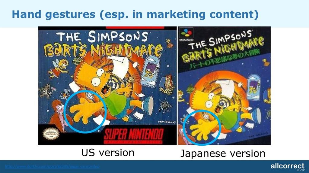 Hand gestures (esp. in marketing content) US ve...