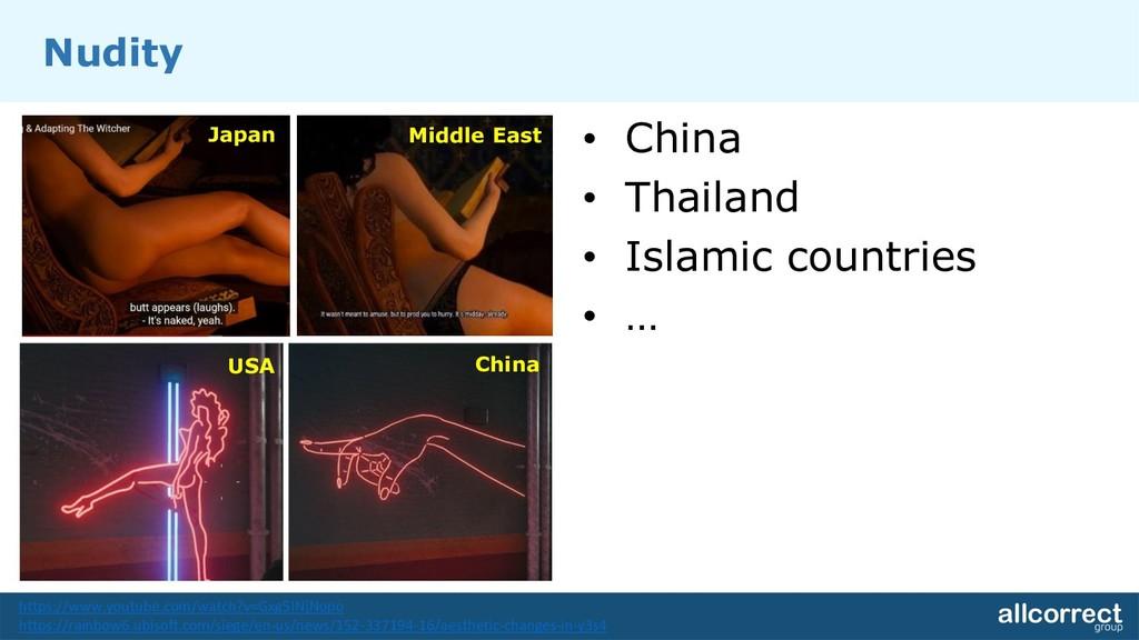 Nudity • China • Thailand • Islamic countries •...