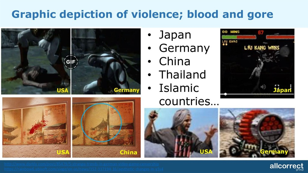 Graphic depiction of violence; blood and gore •...