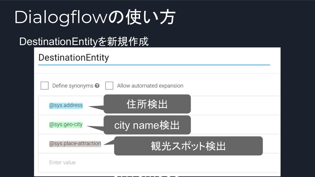 DestinationEntityを新規作成 住所検出 city name検出 観光スポット検...
