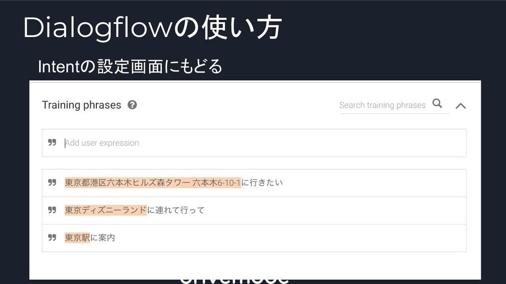 Intentの設定画面にもどる Dialogflowの使い方