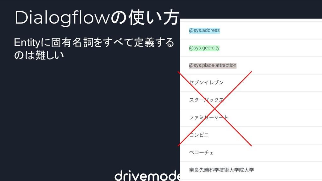 Entityに固有名詞をすべて定義する のは難しい Dialogflowの使い方