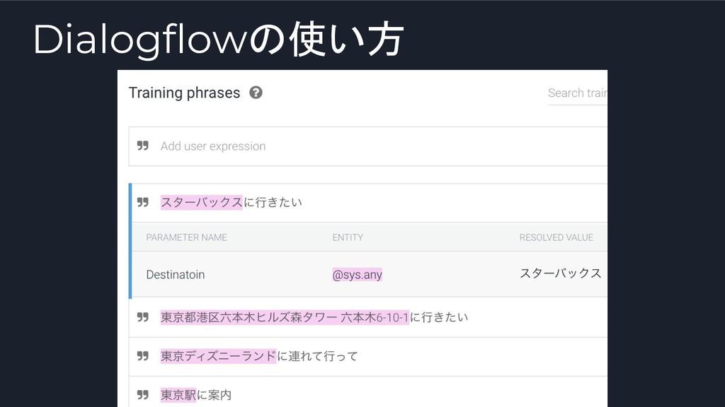 Dialogflowの使い方