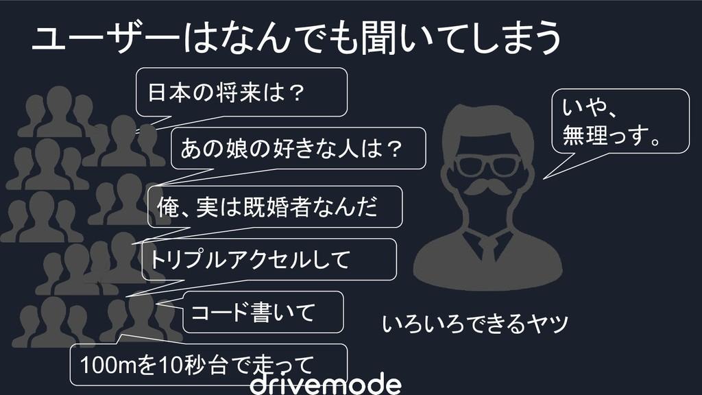 ユーザーはなんでも聞いてしまう いや、 無理っす。 いろいろできるヤツ 日本の将来は? あの娘...