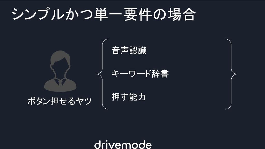 シンプルかつ単一要件の場合 ボタン押せるヤツ 音声認識 キーワード辞書 押す能力